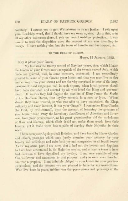 180 DIARY OF PATRICK GORDON. [1692   countrey. I entreat you to gett Watertowne