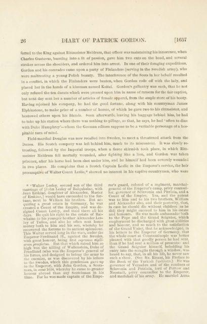 26 DIARY OF PATRICK GORDON. [1657   ferred to the King against Rittmeister Meldrum