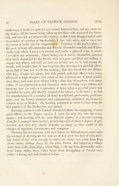 42   DIARY OF PATRICK GORDON. [1661   misfortune