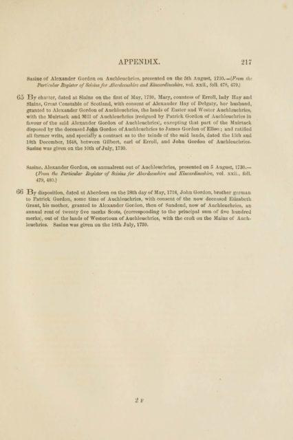 APPENDIX. 217   Sasine of Alexander Gordon on Aiichleuchries,