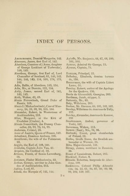 INDEX OF PERSONS.   Abercromby, Domina Margarita