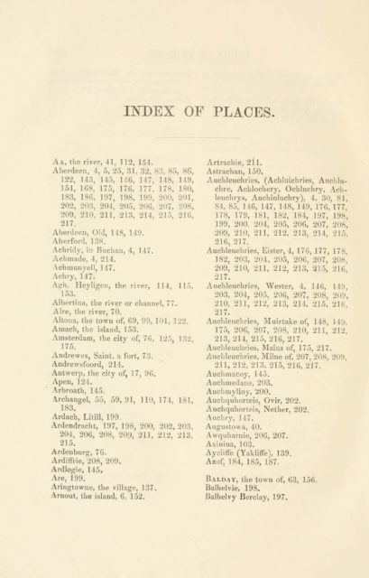INDEX OF PLACES.   Aa, the river, 41, 112, 154.   Aberdeen
