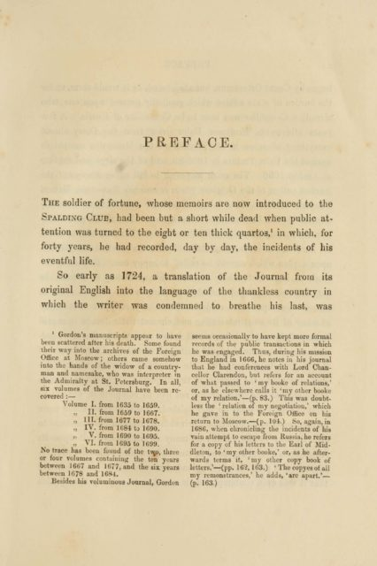 PREFACE. The soldier of fortune, whose memoirs are now introduced to the  Spalding Club