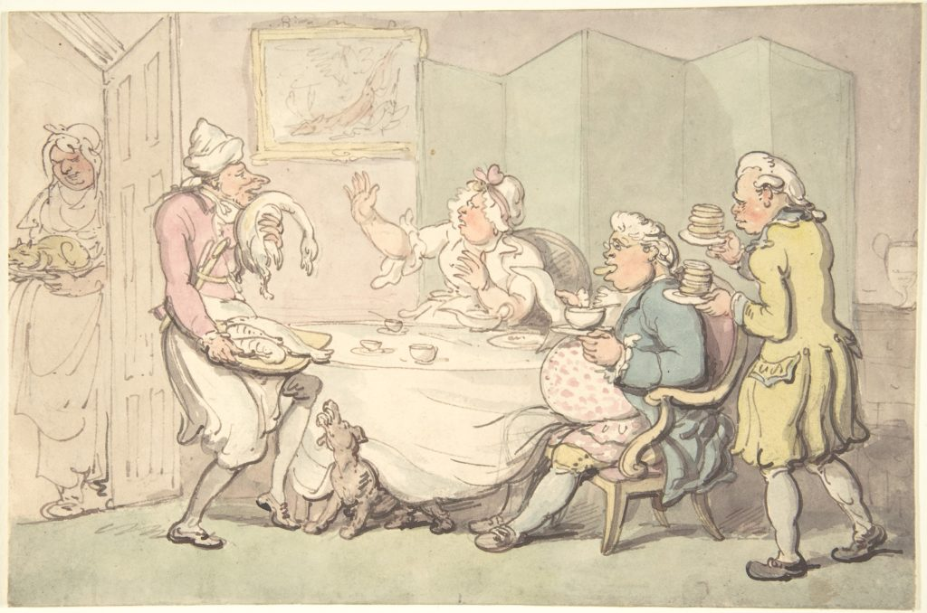 A Couple at Table with Servants