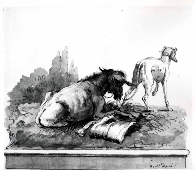 A Donkey Lying on the Grass, with an Italian Greyhound (on a Base)