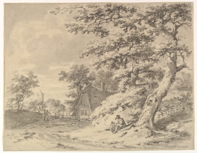 A  Forest Edge with Peasants and a Village in the Background; verso: Landscape Sketch