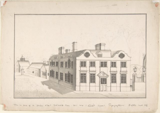 A Jacobean Country House with 18th century alterations (recto); Spired Country Church (verso)