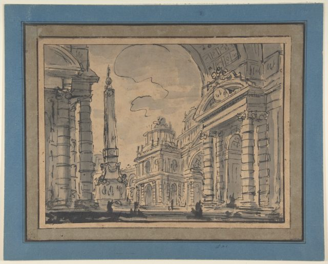 An Architectural Capriccio; a View Through a Great Arch with an Obelisk in a Piazza in the Middle Distance