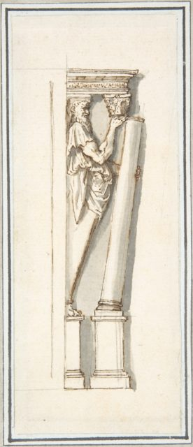 An Architectural Detail: A Herm Figure Placing or Removing a Column from Under an Entablature (after Stucco Frame by Daniele da Volterra from Orsini Chapel, Santa Trinita dei Monti).