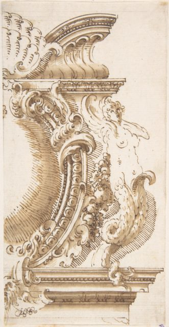 Architectural Design with a Cartouche Flanked by a Siren
