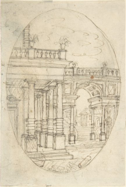 Architectural Drawing (recto); Sketch of a Figure (verso)