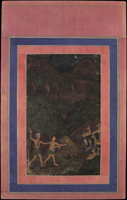 """Bhil Couple Hunting Deer at Night"", Folio from the Davis Album"