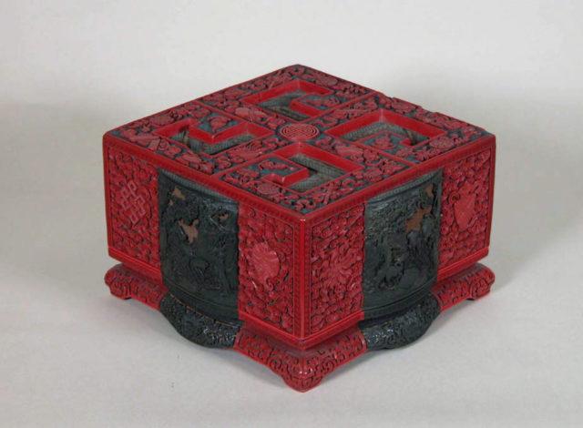 Box with Landscape Scenes and Auspicious Emblems