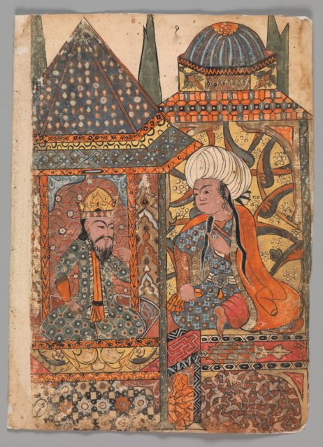 """""""Burzuyeh is Summoned by Nushirvan on his Return from India"""", Folio from a Kalila wa Dimna"""