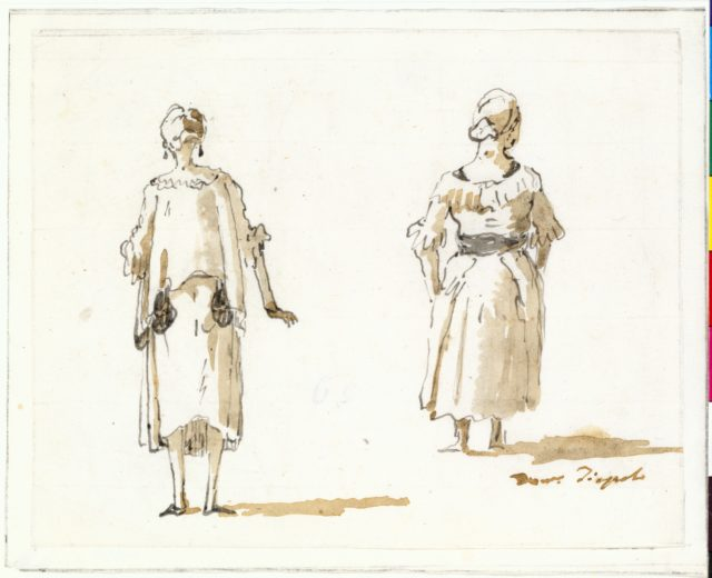 Caricature of Two Women Seen From Behind