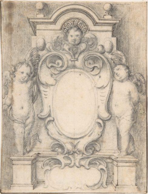 Cartouche between two cherubs on pedestals