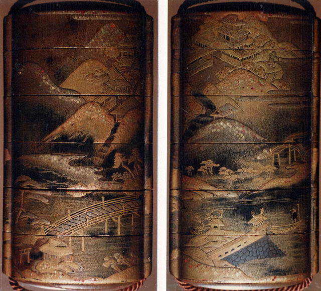 Case (Inrō) with Design of Buildings in Mountain Landscape