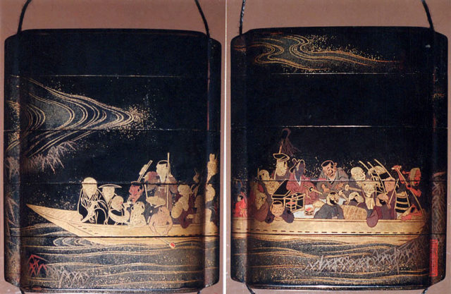 Case (Inrō) with Design of Crowded Ferry Boat on Waves