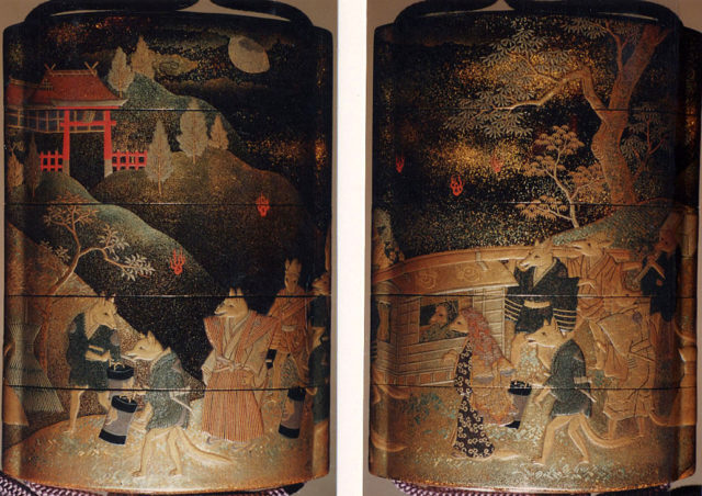 Case (Inrō) with Design of Fox's Wedding Procession in Hilly Landscape with Temple and Moon