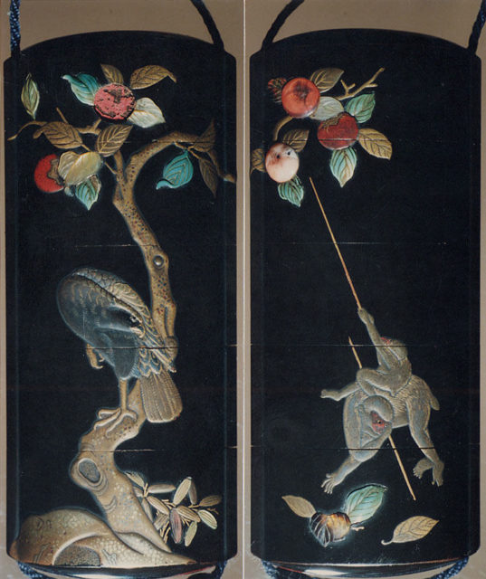 Case (Inrō) with Design of Monkeys Trying to get Persimmons with Stick (obverse); Hawk in Persimmon Tree (reverse)