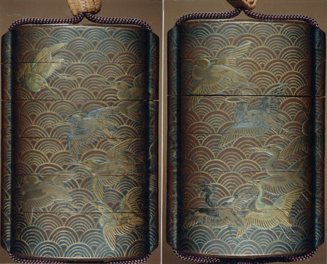 Case (Inrō) with Design of Seagulls Flying Over Waves