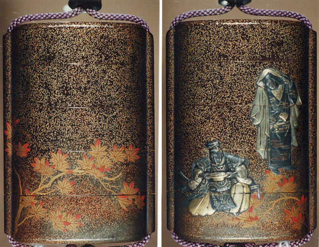 Case (Inrō) with Design of Seated Courtier Drinking Sake and a Young Woman with Maple Leaves