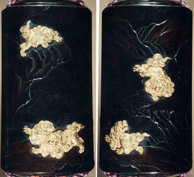 Case (Inrō) with Design of Shishi Dogs beside Rocks and Waterfall