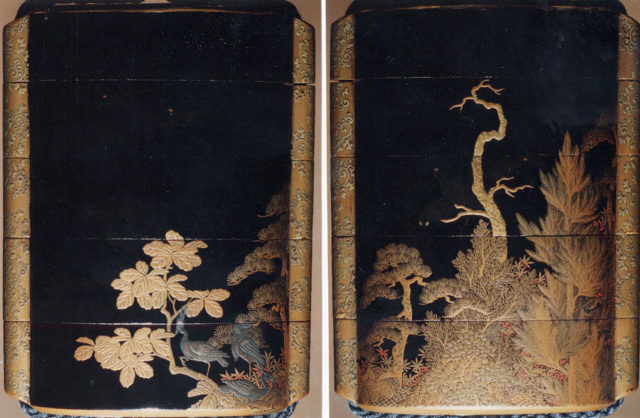 Case (Inrō) with Design of Three Herons Seated in Maple Tree (obverse); Three Crows in Autumn Forest (reverse)