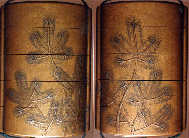 Case (Inrō) with Design of Young Pine Trees