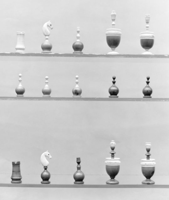 Chessmen, box, and board