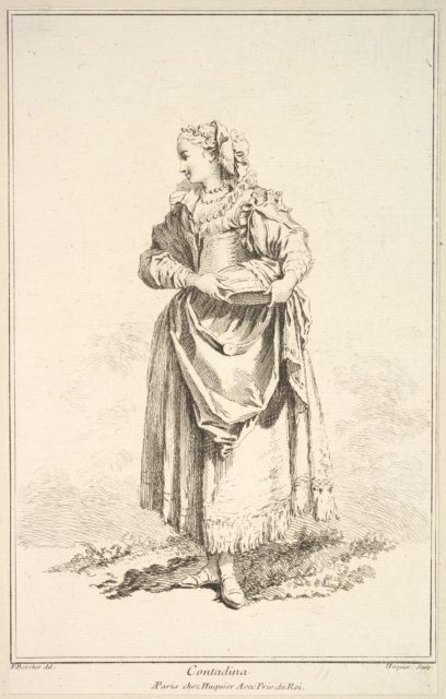 Contadina, from Recueil de diverses fig.res étrangeres Inventées par F. Boucher P.tre du Roy et Gravées par F. Ravenet (Collection of Various Foreign Figures, Devised by F. Boucher, Painter of the King and Engraved [etched] by F. Ravenet), plate 7