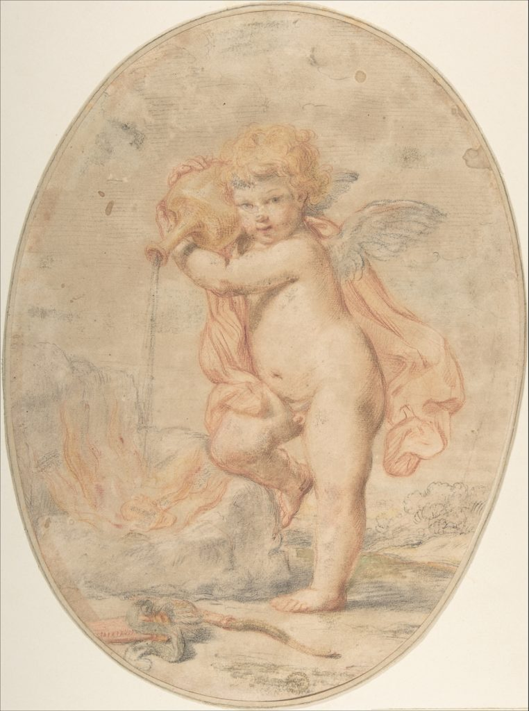 Cupid Pouring Water on a Burning Heart