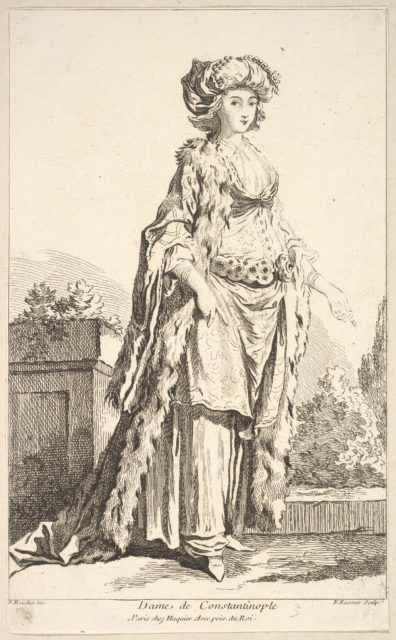 Dame de Constantinople, from Recueil de diverses fig.res étrangeres Inventées par F. Boucher P.tre du Roy et Gravées par F. Ravenet (Collection of Various Foreign Figures, Devised by F. Boucher, Painter of the King and Engraved [etched] by F. Ravenet), plate 5