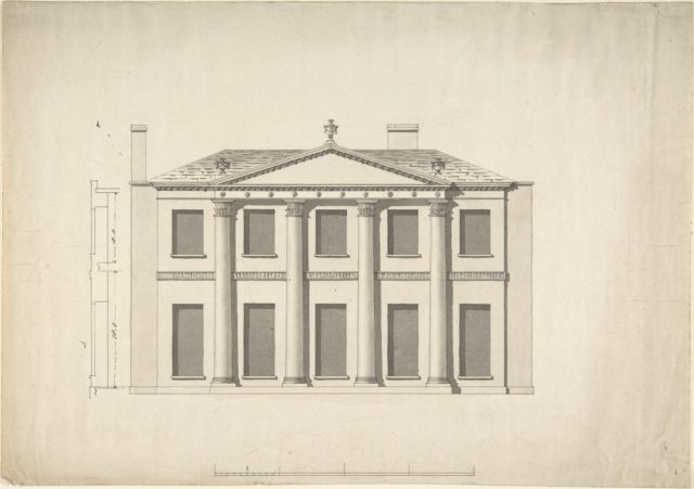 Design for a Building Facade of Two Storeys and Five Bays, with a Pediment and an Adamesque Portico, Elevation and Wall Plan
