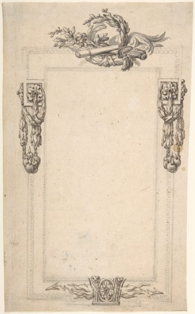 Design for a Cartouche or Frame with Four Groups of Military Ornament: Flames and Thunderbolts on bottom; Swags of Bombs at Sides; Sword, Baton, and Laurel Top.