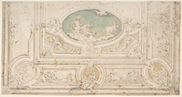 Design for a Ceiling with Apollo on his Wagon in the Central Compartment