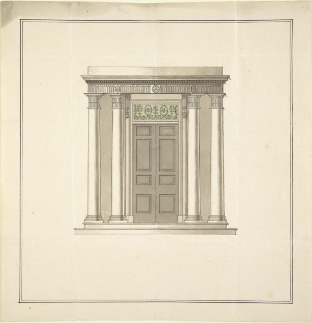 Design for a Doorway with a Portico in the Classical Style