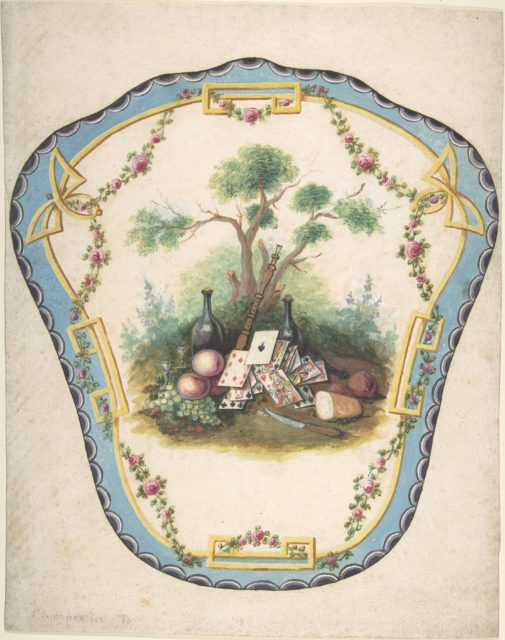 Design for a Firescreen with Picnic Scene and Playing Cards