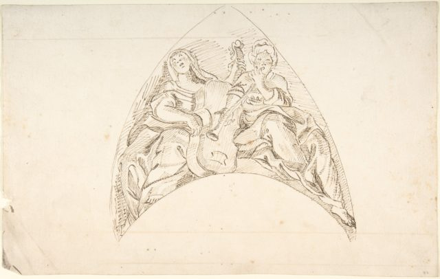 Design for a Pedentive Decoration: two women with musical instruments