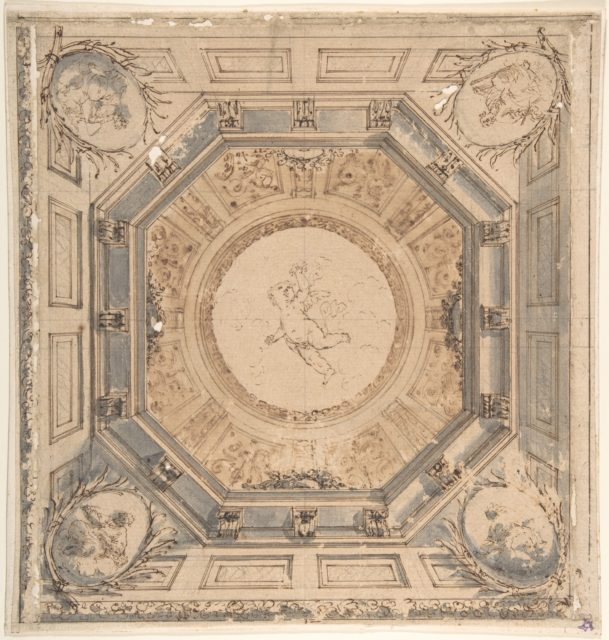 Design for a Square Trompe L'Oeil Ceiling with the Four Evangelists