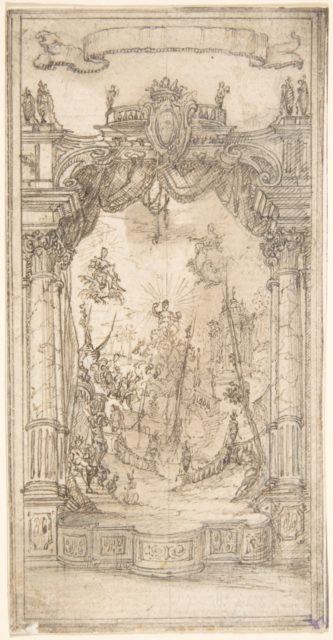 Design for a Stage Set or Illustration in a Fête Book with a Blank Scroll Above