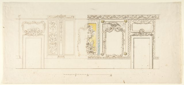 Design for an Interior Wall Decoration of a Palazzo with Two Doorways and a Decorated Panelling with Trophies