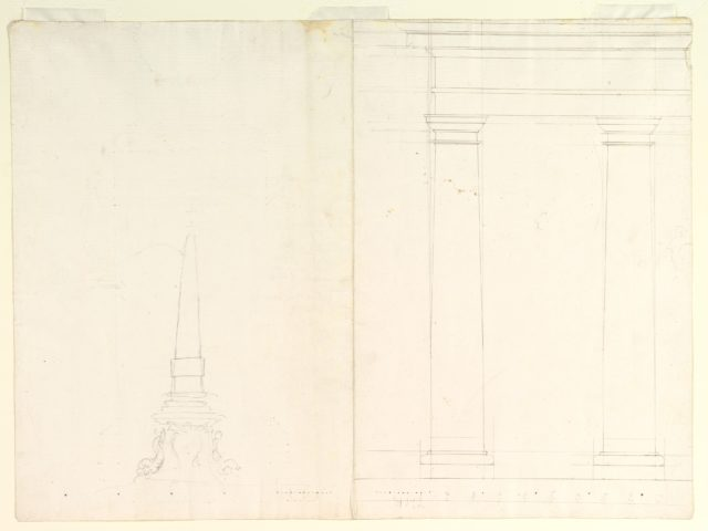 Design for an Obelisk; Partial Design in Elevation for Colonnade in the Doric or Tuscan Order (recto); Design for Fluted Column on Podium in Elevation (verso)