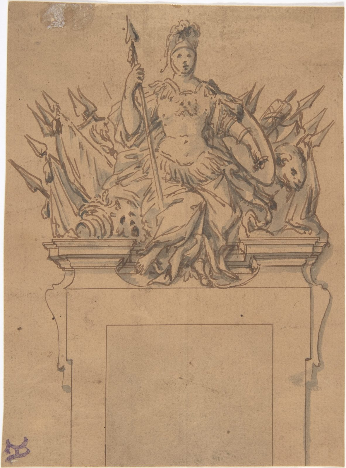Design for an Overdoor or Chimney Piece with an Armorial Trophy and the Figure of Minerva