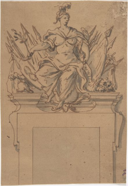 Design for an Overdoor or Chimney Piece with an Armorial Trophy and the personification of Victory