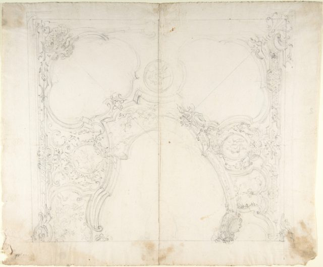 Design for One Half of a Ceiling with Medaillons with Figure Sketches Inside (recto); Design for an Interior Wall Elevation (verso)