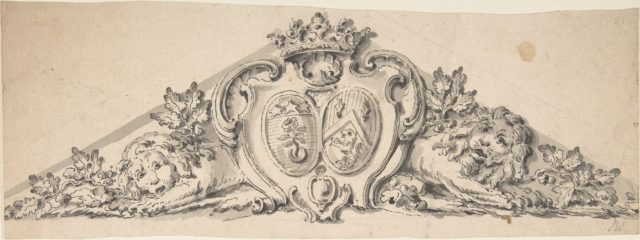 Design for Pediment with Two Heraldic Crests, Lions and a Crown