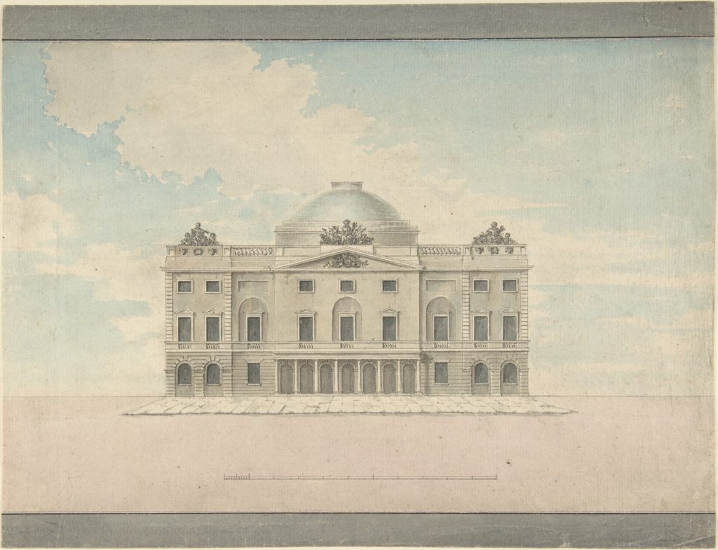 Design for the Facade of a Theater (Perspective)