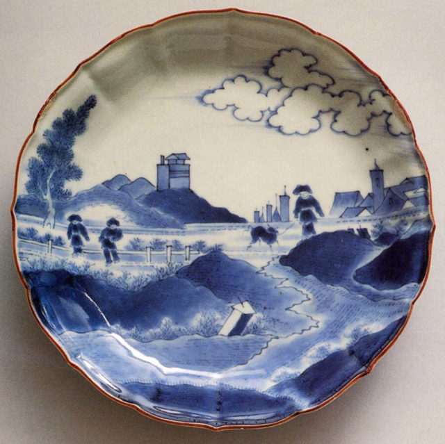 Dish with Dutch Landscape (Deshima Island or View of Scheveningen)