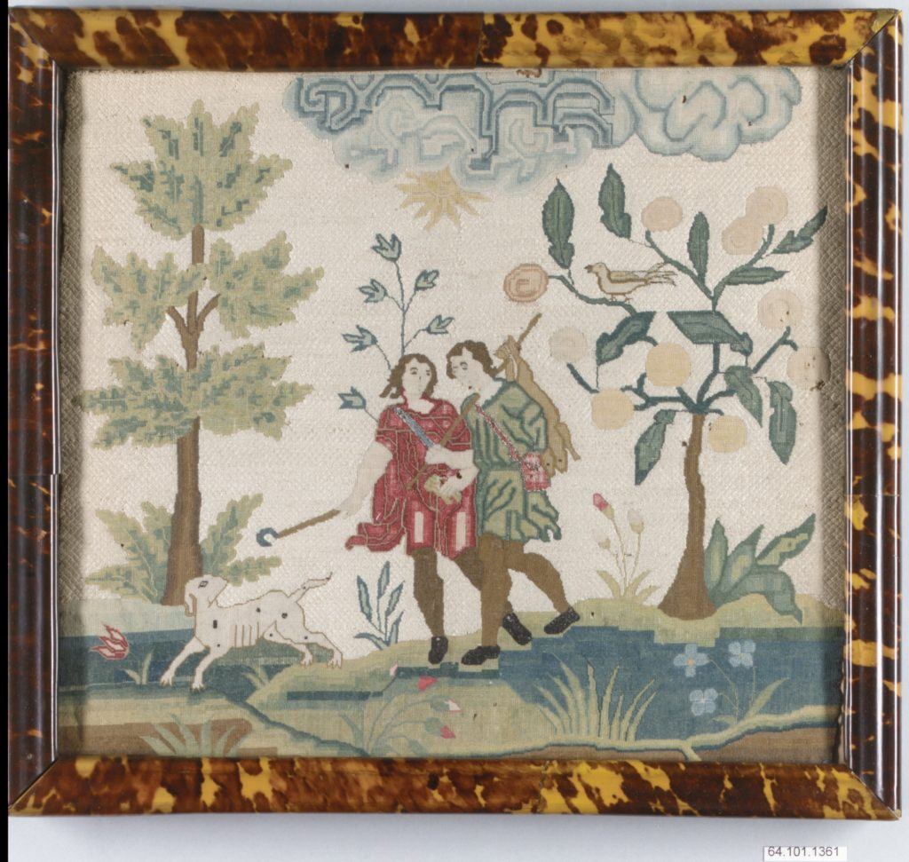 Embroidered picture with hunting scene